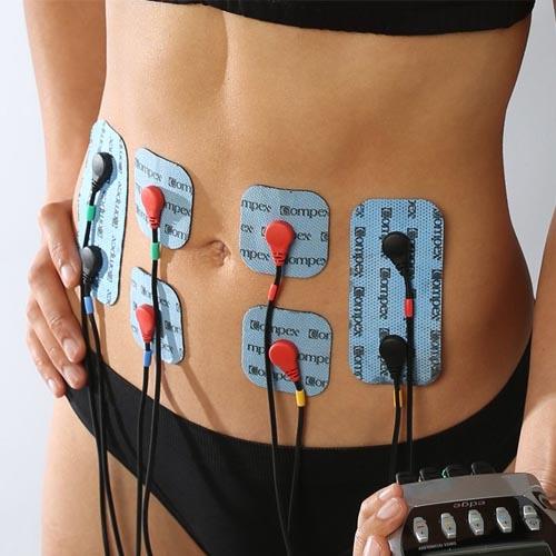 jak podpiąć elektrody compex mięśnie brzucha