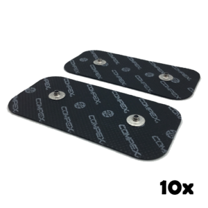 10 zestawow czarnych elektrod compex 50x100 mm z dwoma pinami- compex easysnap 5x10 cm