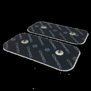 5 kompletow czarnych elektrod compex 50x100 mm z dwoma pinami- compex easysnap 5x10 cm