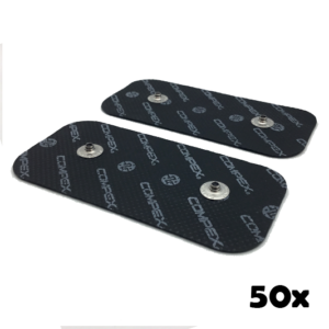 promocja na 50 woreczkow czarnych elektrod compex 50x100 mm z dwoma pinami- compex easysnap 5x10 cm