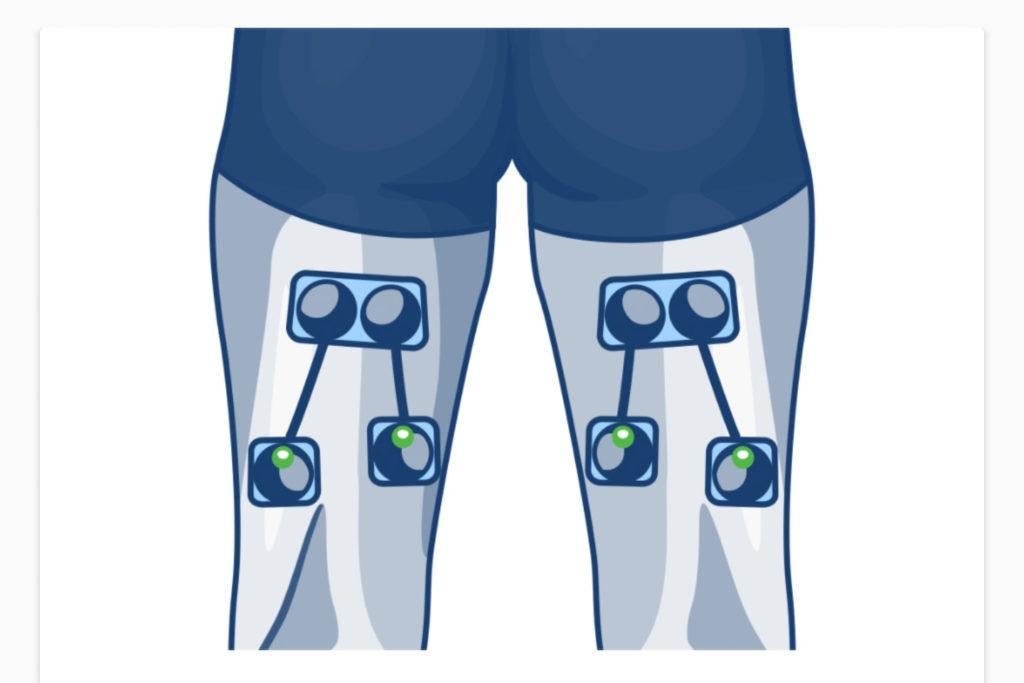 ulozenie elektrod na trening lub regeneracje dwuglowych uda